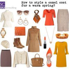 Camelkleurige jas voor een warm lentetype.