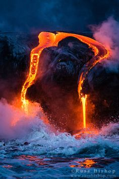 Lava flow entering the ocean at dawn, Hawaii Volcanoes National Park, The Big Island, Hawaii / © Russ Bishop ~ Click image to purchase a print or license