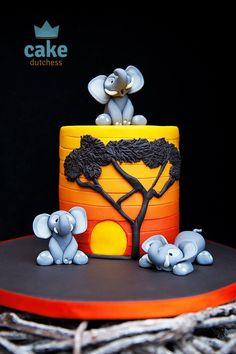 Cake Dutchess - Elephants enjoying an African Sunset a tutorial. Cake Icing, Fondant Cakes, Cupcakes, Cupcake Cakes, Africa Cake, Cake Dutchess, Safari Cakes, Jungle Cake, Lion King Cakes