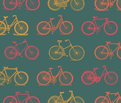 Retro Antique Bicycles fabric by cloudy_cape_vintage on Spoonflower - custom fabric