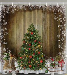 Christmas Tree Print Bath Decor Waterproof Shower Curtain - multicolor X INCH Holiday Shower Curtains, Cheap Shower Curtains, Bathroom Shower Curtains, Fabric Shower Curtains, Window Curtains, Christmas Bathroom, Christmas Home, Christmas Holidays, Merry Christmas