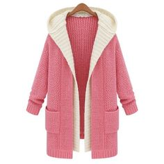 Casual Hooded Long Sleeve Faux Twinset Knitted Women's Cardigan