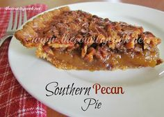 The Country Cook: Southern Pecan Pie. Oh my my. I love Pecan pie and this looks simple!