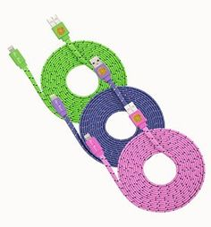 Amazon.com: 3 Pack 10ft Durable Hi-Speed Braided Flat Noodle Lightning USB SYNC Cable Charger Cord for iPhone 6, 6 Plus, 5, 5C, 5S, iPad 4, iPad Mini, Ipad Air, Air 2, iPod Touch 5th Gen, Nano 7th Gen, Support Latest IOS, 8-pin to USB - (green, purple, pink): Computers & Accessories