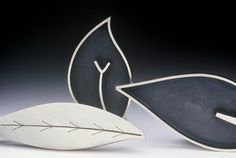 Silver leaf brooches by Diana Greenwood