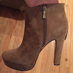 Bcbg booties Tan work a few times in good condition. Very comfortable for the height of heel BCBGeneration Shoes Ankle Boots & Booties