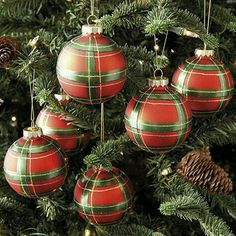Part of our classicChristmas collection, these fun Plaid Ornaments are hand painted in festive red and green with gold accents for extra holiday sparkle. Mix them with our glass Pinecone and Squirrel Ornaments to create the look of an woodland holiday. British Christmas, English Christmas, Tartan Christmas, Plaid Christmas, Christmas Baubles, Country Christmas, Christmas Colors, All Things Christmas, Winter Christmas