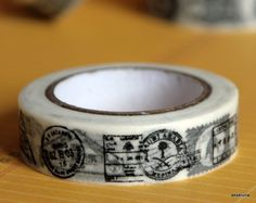 """Washi tape (masking tape) """"timbres/poste"""" 15mm x 10m"""