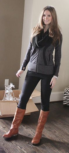 """Cute outfit! Like the blog too.  Jacket- Lululemon  Jeans- GAP """"Always Skinny""""  Infinity Scarf- Forever 21  Boots- Nine West"""