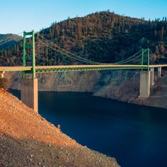 """Day 801 [8-29-15] """"Taller Each Day"""" - When built in 1965, the Bidwell Bar Bridge stood 627ft above the river below, making it one of the highest suspension bridges in the world at that time.  When full, the water sits just below the top of the concrete pillars, 20ft below the bridge. Lake Oroville, CA is currently 225 feet (or 69%) below full capacity (weekly series: """"Drought"""" 