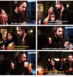 """""""Benjamin Franklin invented 'Sex on the Beach'?"""" - Abbie and Crane #SleepyHollow"""
