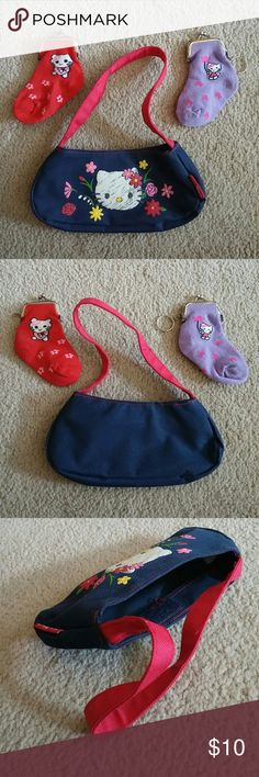 """Hello Kitty Purse & Cat Coin Purse Bundle No trades. 1 Hello Kitty Purse and 2 Cat Coin Purses. The Hello Kitty purse measures 4"""" from top to bottom and 8"""" from side to side. The closure is velcro. The cat coin purses measure approximately 5"""" from top to bottom and approximately 2 1/2"""" from side to side. They are made from socks (2 layers so they are thick) and they stretch. The opening on the cat coin purses is 2"""". The red cat coin purse is missing the key ring but I will replace it once I…"""