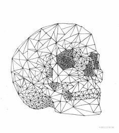 Optique illusion dessin avec des formes géométriques crane géométrique