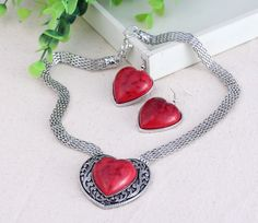 Fashion Women Ladies Big Heart Design Jewelry Sets Earring Necklace Chain with Imitate Turquoise