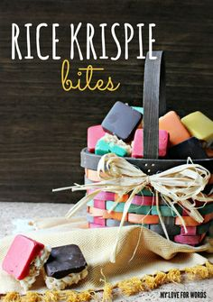 Love this fun, colorful, and delicious twist on the standard rice krispie treat recipe. Do desserts get any prettier?!