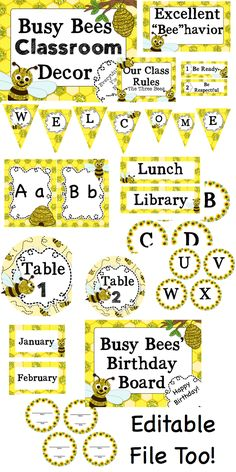 Busy As A Bee Classroom Decor Editable File Too Bees Theme
