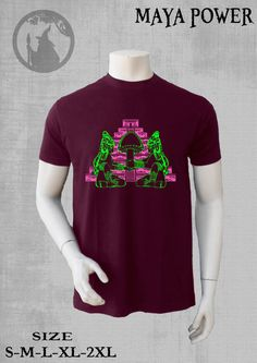 mens tshirt with print MAYA POWER  glow-neon print psy by PSYDRUID