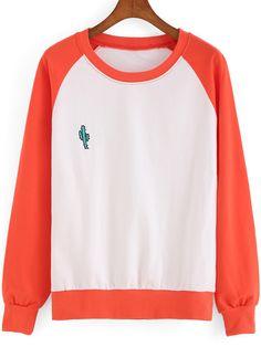 Orange White Round Neck Cactus Embroidered Sweatshirt