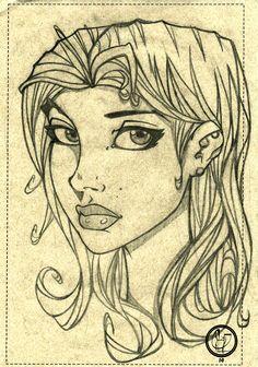 Studie face portrait girl toon. Art by Leandro Sans.
