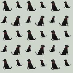 Zwarte Labrador Wallpaper - woonaccessoires, leuk behang voor een hoekje in huis waar de hond zijn plaats is.