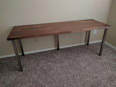 Computer desk from Ikea Karlby worktop and Sjunne Legs
