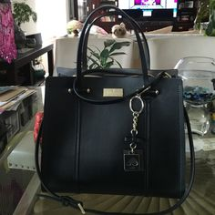 Kate Spade Purse Kate Spade Wellesley Arbor Hill Handbag Black Leather Two Tone With Gold Accents New $398 kate spade Bags Shoulder Bags