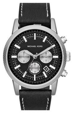 Michael Kors 'Scout' Chronograph Leather Strap Watch, 43mm available at #Nordstrom