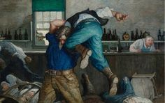 N.C. Wyeth - Waite Seized Him and Swung Him on High Amid a Volley of Terrified Oaths and then dashed Him Down and Away (Barroom Brawl) - oil on canvas - 22 X 34 in.
