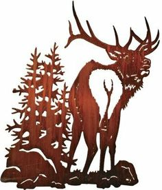 """30""""Country Music (Elk & Trees) by Laser Wall Art & Home Décor. $102.56. Laser Cut Metal Wall Art. Easy hang hooks located on the back of the art piece. Made in the U.S.A. Laser cut from cold rolled steel, these wall art pieces are hand finished in beautiful color mosaics or acid washed to achieve a finish that is elegant and timeless."""