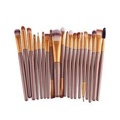 Stylish 20 Pcs Plastic Handle Nylon Makeup Brushes Set ($6.66) ❤ liked on Polyvore featuring beauty products, makeup, makeup tools and makeup brushes