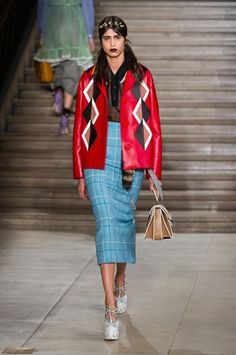 Miu Miu Ready To Wear Spring Summer 2016 Paris - blue natural waist a line plaid skirt paired with red leather jacket and black polo style see through top