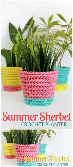 Summer Sherbet Crochet Planter 1 Easy Free Crochet Home Decor Patterns Love Crochet, Crochet Gifts, Learn To Crochet, Beautiful Crochet, Crochet Flowers, Diy Crochet, Beginner Crochet Tutorial, Crochet For Beginners, Easy Crochet Projects