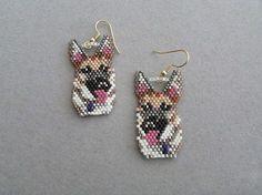 Beaded German Shepherd Earrings by DsBeadedCrochetedEtc on Etsy