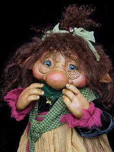 New - Troll girl Pina, original OOAK doll by Silke Janas-Schloesser - NO MINIATURE-