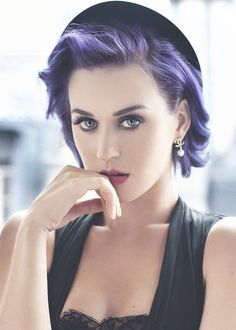 Katy P. beautiful as always - LOVE the purple! Hair, make up and Chanel earrings - perfection!