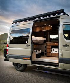 Looks like the Van Life movement is here to stay, the phenomenon is all the rage lately, specially the fascination with conversion vans built to take adventurers into the wild. Meet the future of the modern adventure van, Idaho-based Sync Vans offe Van Conversion Interior, Camper Van Conversion Diy, Van Interior, Ford Transit Camper Conversion, Autos Mercedes, Bmw Autos, Mercedes Sprinter Camper, Mercedes Camper Van, Custom Camper Vans