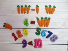 "Купить Набор цифр и морковок для счета ""Зайкина арифметика"" - комбинированный, цифры из фетра, цифры, математика"