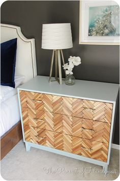THIS is awesome!!! with FREE PLANS and supply/cut list! Herringbone Chest Diy  from Pursuit of Handyness