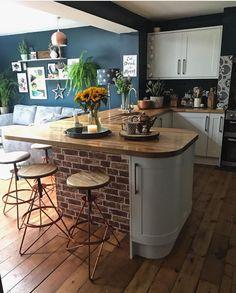 Open Plan Kitchen Dining Living, Open Plan Kitchen Diner, Living Room Kitchen, Home Decor Kitchen, Kitchen Interior, New Kitchen, Home Kitchens, Blue Walls Kitchen, Bungalow Kitchen