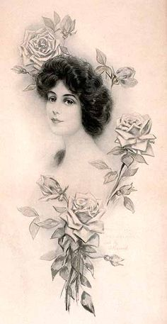 """Post card art, Golden Roses (pencil and wash; the """"gold"""" has faded) (1910) Hare"""