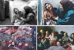 Hocine Zaourar, massacre à Bentalha, 1997 (AFP), format original/format publié. Mustafa Bozdemir, tremblement de terre en Turquie, 1983 (Hürriyet Gazetesi). Georges Mérillon, deuil au Kosovo, 1990 (Gamma)