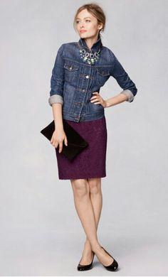 JCrew fall 2013  dress, denim jacket (buttoned!), statement necklace