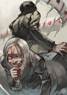 Amon and Mado from Tokyo Ghoul || I didn't like Mado. I was really happy about his death.