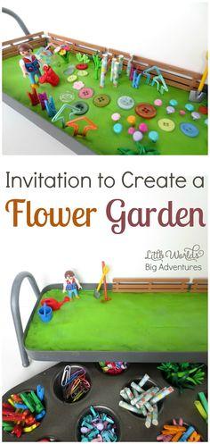 Invitation to Create a Play Dough Flower Garden, a fun Spring Activity for Preschoolers | Little Worlds, Big Adventures