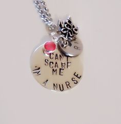 Can't Scare Me I'm a Nurse. Stamped Jewelry. Nurse Necklace on Etsy