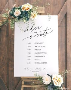 Order of events Wedding sign template, Wedding timeline sign, Printable wedding itinerary sign, Templett, Wedding schedule - wedding - Hochzeit Wedding Ceremony Ideas, Wedding Signage, Wedding Events, Diy Wedding Signs, Wedding Hacks, Reception Order Of Events, Rustic Wedding, Wedding Sayings, Wedding Program Sign
