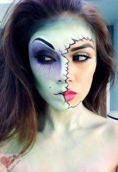 Half zombie girl make up halloween look Theatre Makeup, Makeup Salon, Makeup Art, Makeup Ideas, Geisha Makeup, Makeup Tutorials, Media Makeup, Doll Makeup, Sfx Makeup