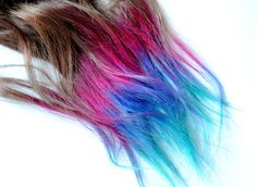 Dip Dyed Tips - Human Hair Extensions - Boho Lauren Conrad Inspired / Tie Dyed Clip Ins // Brown Pink Purple Turquoise Blue / Ombre Rainbow by MissVioletLace on Etsy