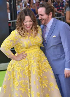Ghostbusters Premiere from Party Pics: Hollywood  Melissa McCarthy shares a laugh with her hubby Ben Falcone.