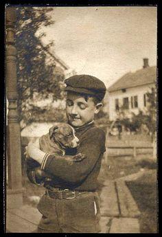 Vintage dog and boy